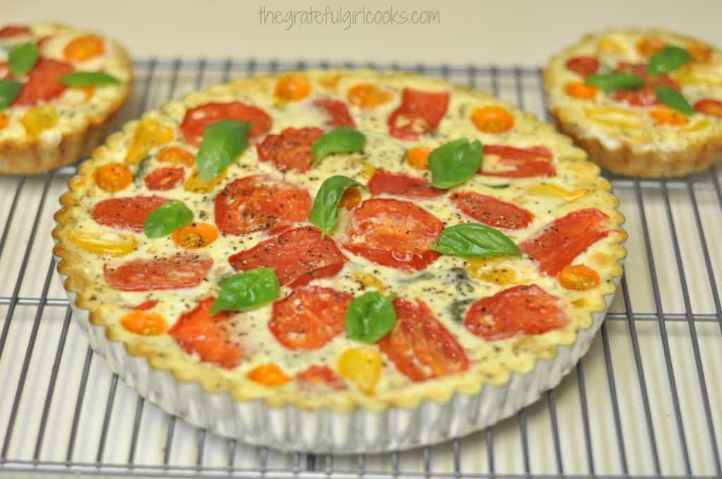 Tomato, Basil and Three Cheese Tart / The Grateful Girl Cooks!