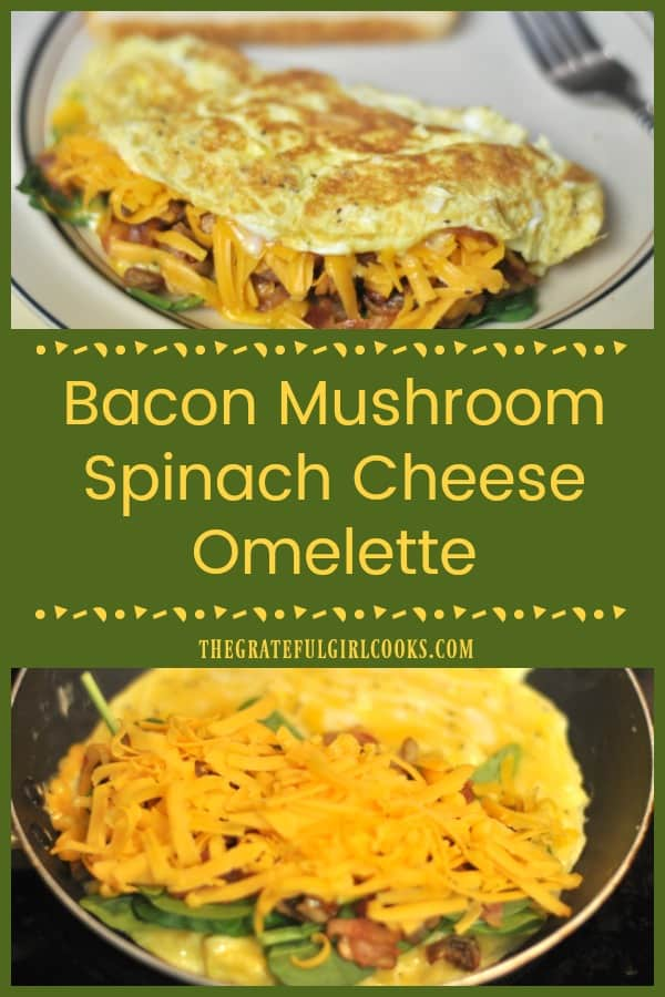 Hungry for a filling breakfast? Whip up this bacon mushroom cheese omelette, with fresh spinach leaves thrown in for good measure. It's delicious!