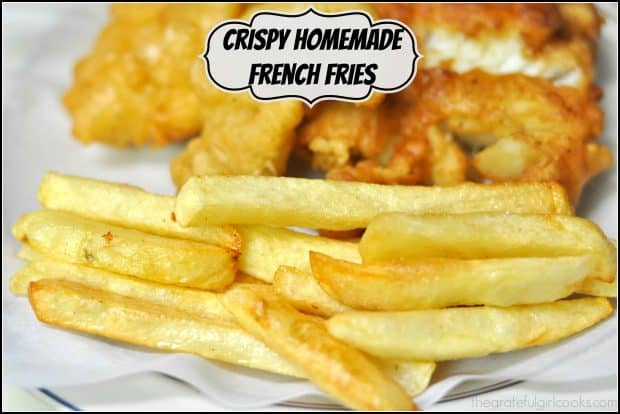Crispy Homemade French Fries (restaurant quality) are EASY to make at home, using this classic 2 step process that ensures a crisp exterior, but soft inside!