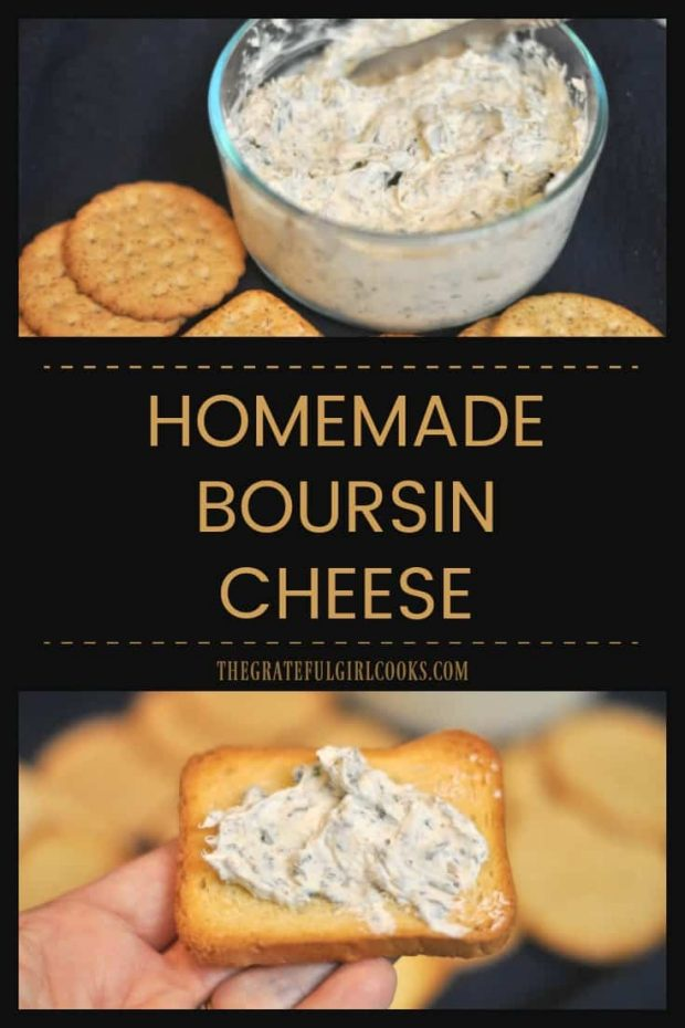 Homemade Boursin Cheese / the Grateful Girl Cooks! Homemade Boursin Cheese is a spreadable herb and garlic-flavored cheese. Served with crackers or crusty bread, it's a perfect appetizer for any get together!