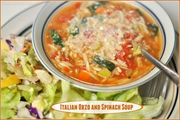 Make a big pot of Italian Orzo Spinach Soup (delicious and easy to make), with pasta, spinach, Italian spices, and diced tomatoes in 30 minutes!