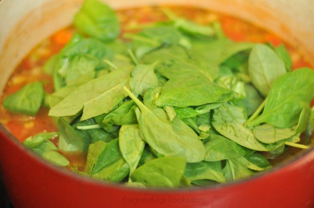 Fresh baby spinach is added to Italian orzo soup