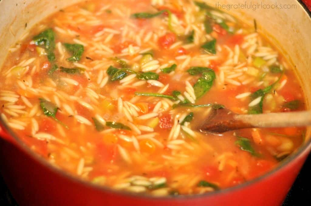 Turkey And Orzo Soup With Spinach Recipe — Dishmaps