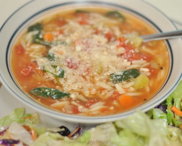 Italian Orzo and Spinach Soup / The Grateful Girl Cooks!