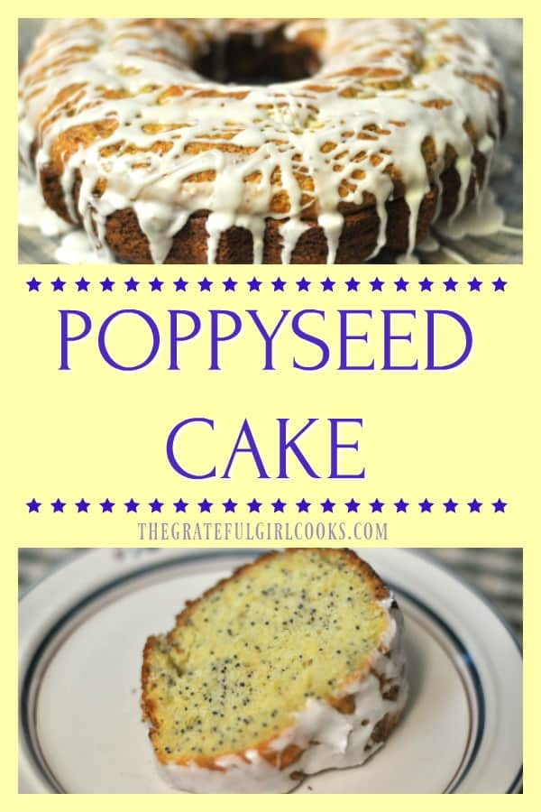 This Poppyseed Cake is absolutely EASY, delicious, serves 12 as dessert or coffeecake, and takes only 5 minutes prep time, using a boxed cake mix!