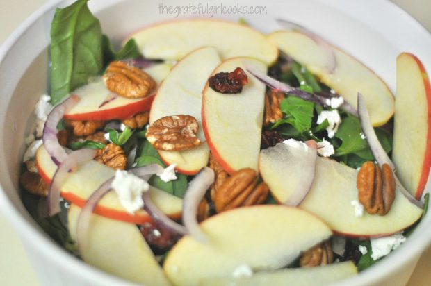 Spinach, Apple and Goat Cheese Salad with Apple Cider Vinaigrette / The Grateful Girl Cooks!