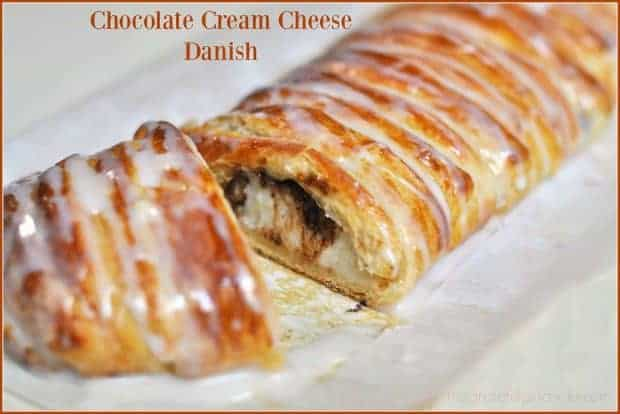 You're gonna LOVE this decadent chocolate cream cheese danish! This chocolate filled pastry is EASY to make, using store bought crescent roll dough!
