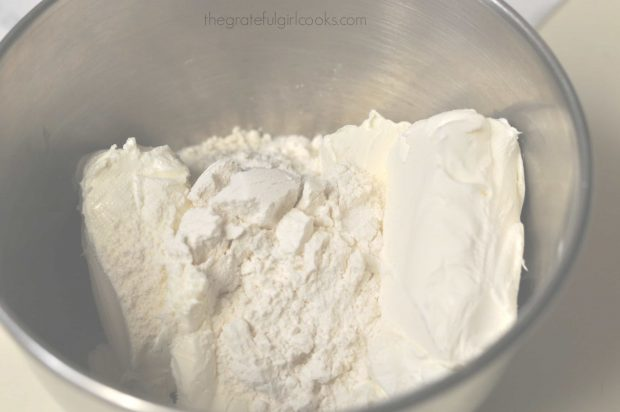 Cream cheese and flour in metal mixing bowl (filling for danish)