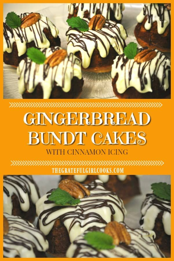 Miniature gingerbread bundt cakes with cinnamon icing are delicious, and make a wonderful gift to give friends and family during the holidays!