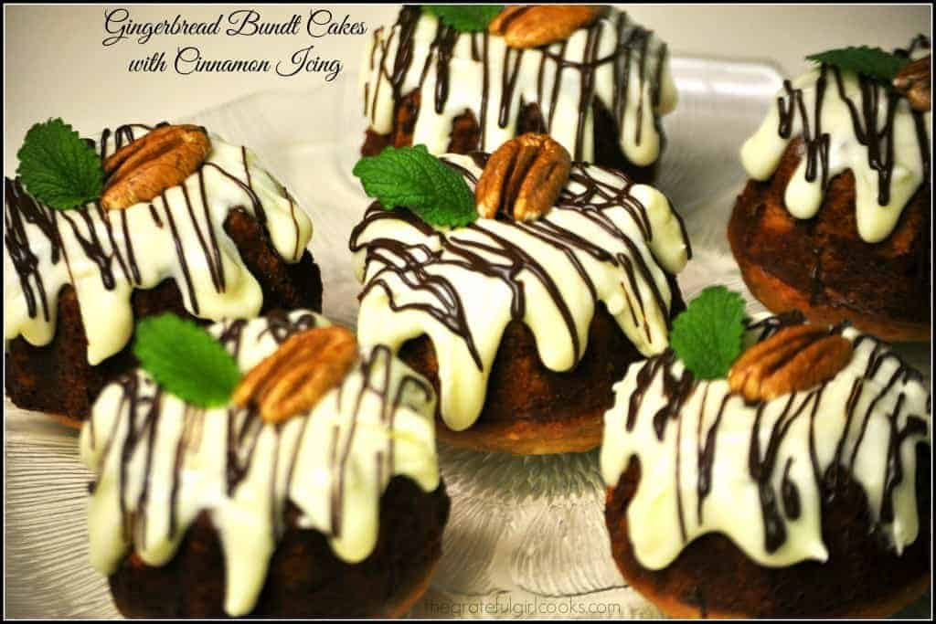 Gingerbread Bundt Cakes With Cinnamon Icing / The Grateful Girl Cooks!