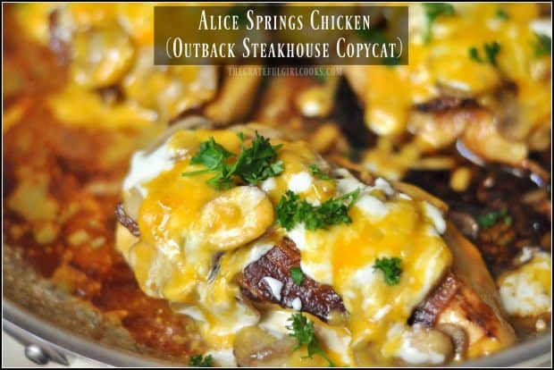 Alice Springs Chicken is pan-seared chicken with bacon, mushrooms, and melted cheeses, in a honey-mustard sauce. This copycat restaurant recipe is delicious!