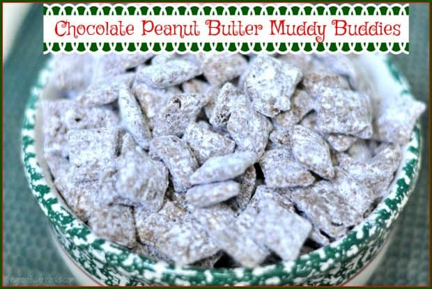 Chocolate Peanut Butter Muddy Buddies are powdered sugar dusted chocolate peanut butter crispy treats you will love! They're yummy snacks or holiday gifts!
