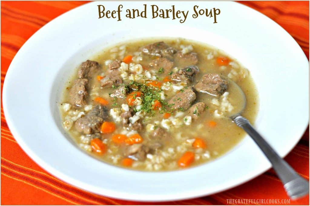 Beef and Barley Soup / The Grateful Girl Cooks! You will love this simple, yet hearty soup with tender beef chunks, barley, carrots, celery and onions!