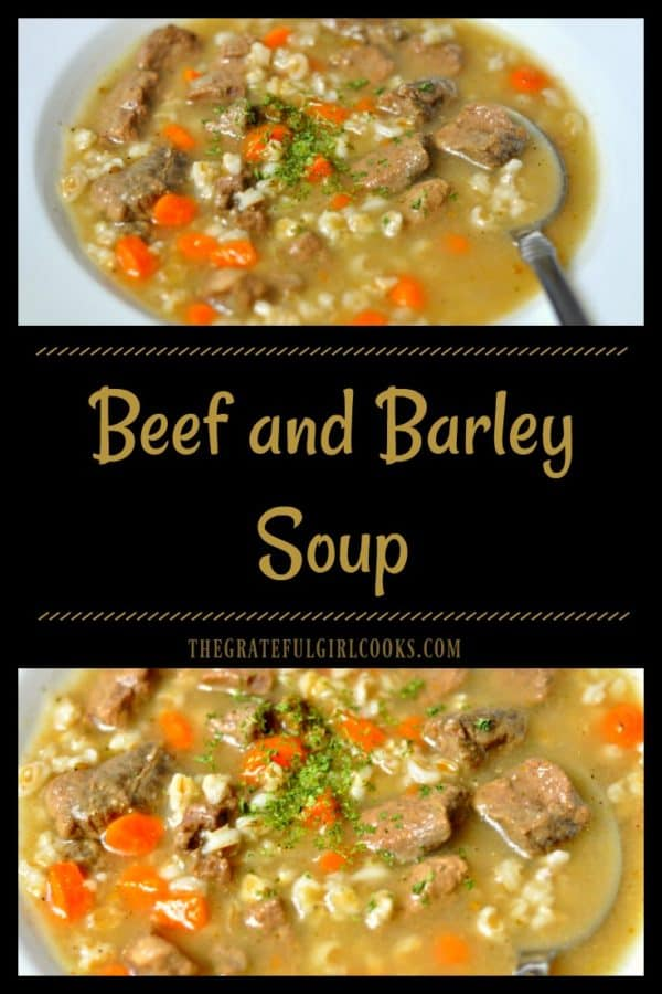 You will love this simple, yet hearty Beef and Barley Soup, with tender beef chunks, barley, carrots, celery and onions! It will hit the spot on a cold day!