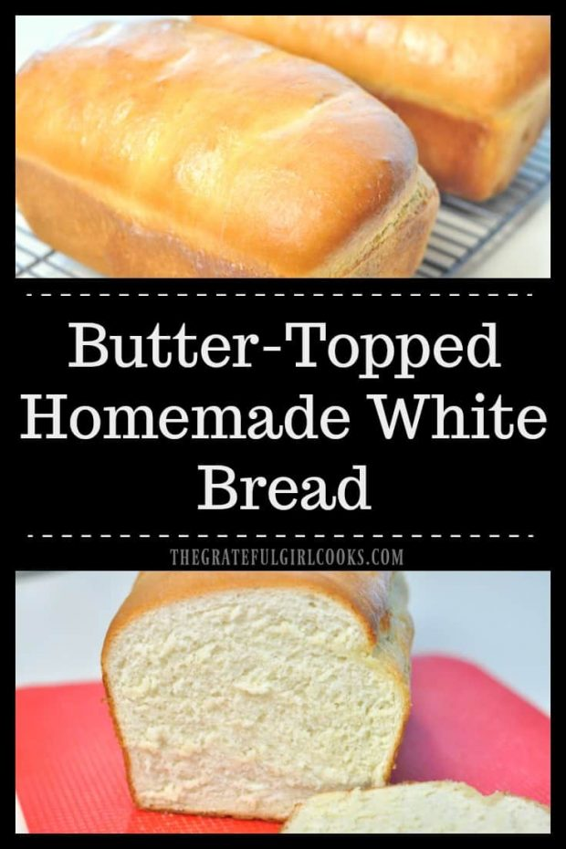 Long photo of butter-topped homemade white bread loaves