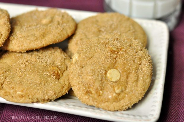 Close up of butterscotch cookies on white platter