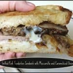Grilled Pork Tenderloin Sandwich with Mozzarella and Caramelized Onions