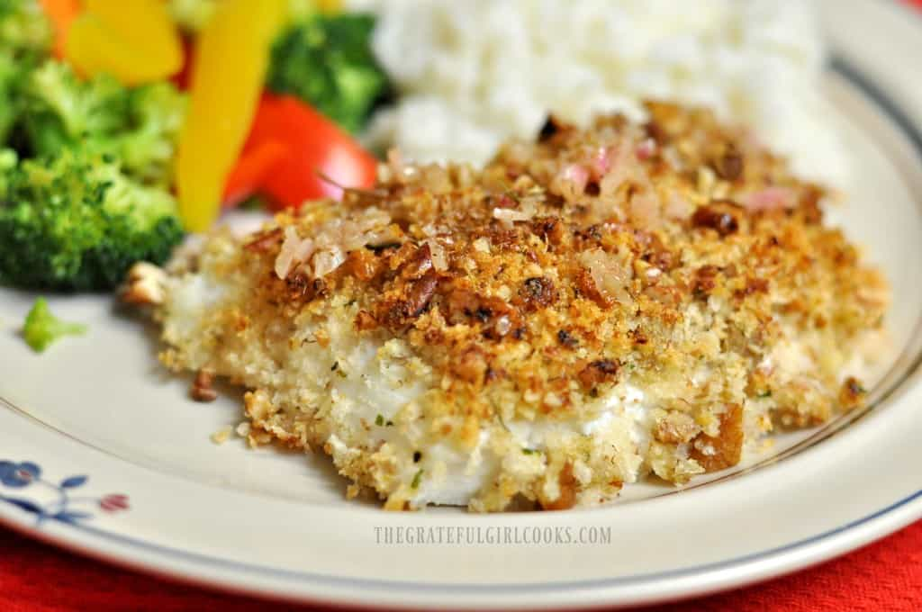 Pecan-Crusted Halibut With Lemon Wine Sauce / The Grateful Girl Cooks!
