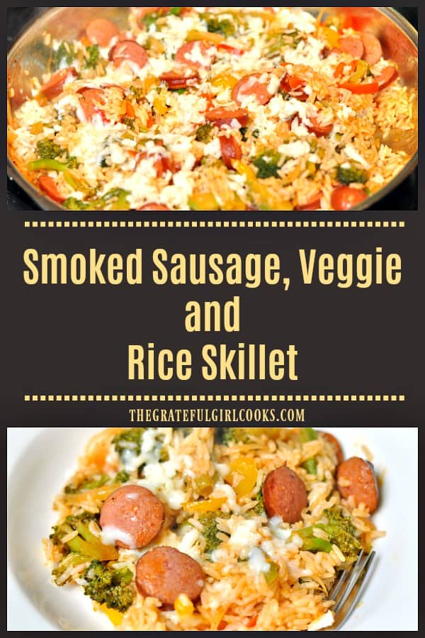 Smoked Sausage Veggie Rice Skillet, is a delicious meal with beef kielbasa, veggies and rice is made in under 30 minutes in one pan, for easy cleanup!