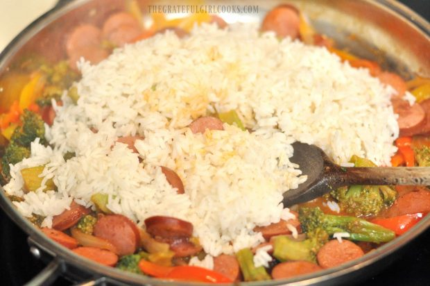 Smoked Sausage, Veggie and Rice Skillet / The Grateful Girl Cooks!