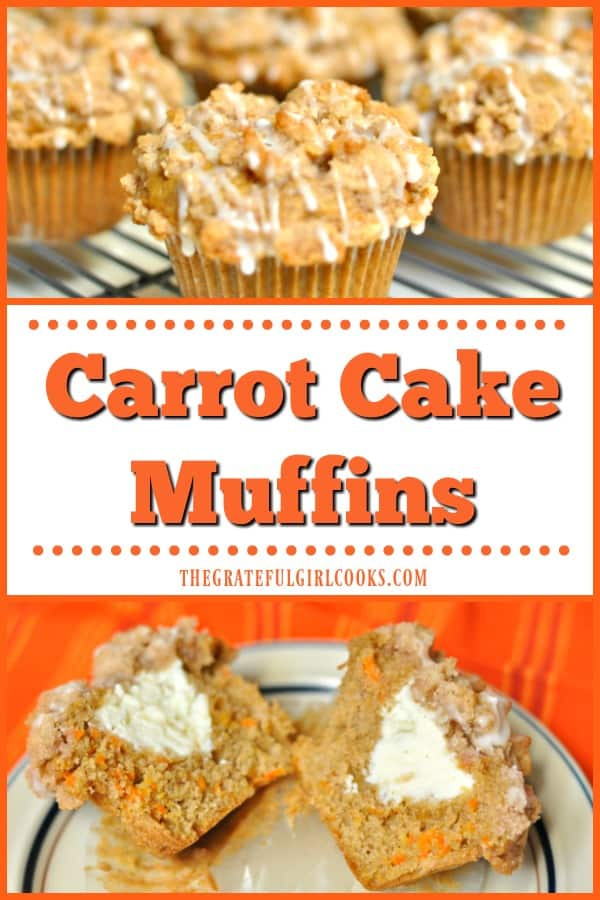 You'll love these delicious, made from scratch carrot cake muffins with a buttery streusel crumb topping, and a surprise cream cheese filling inside!