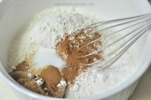 Dry ingredients whisked together for muffin batter