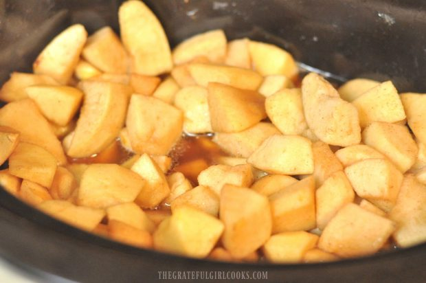 Apple chunks are ready in the slow cooker to make chunky crock pot apples!