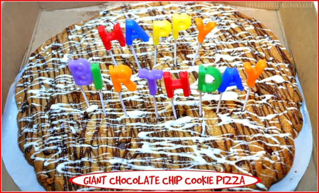 Giant Chocolate Chip Cookie Pizza / The Grateful Girl Cooks!