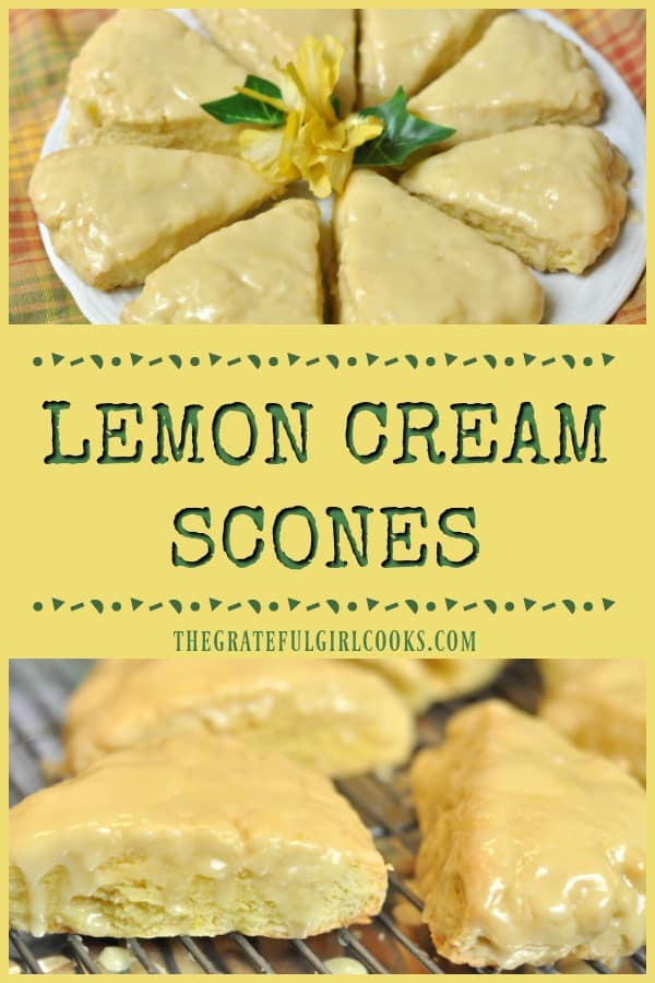 Make 8 outrageously delicious lemon cream scones with lemon glaze icing in 30 minutes, with this quick and easy breakfast or snack recipe!