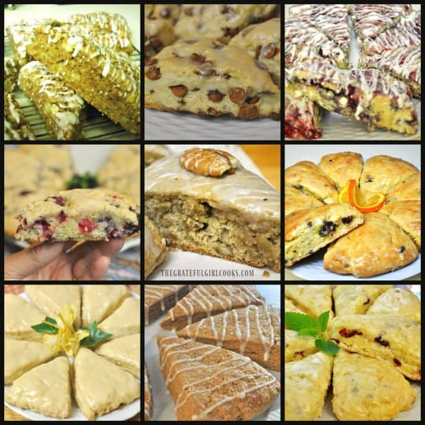 Collage showing 9 different scones from The Grateful Girl Cooks!