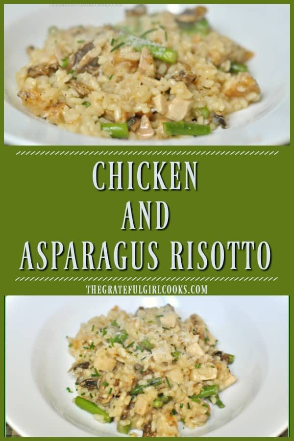 "Creamy chicken asparagus risotto, with Arborio rice, Parmesan cheese and mushrooms is a delicious, filling, ""all in one"" Italian inspired dish!"