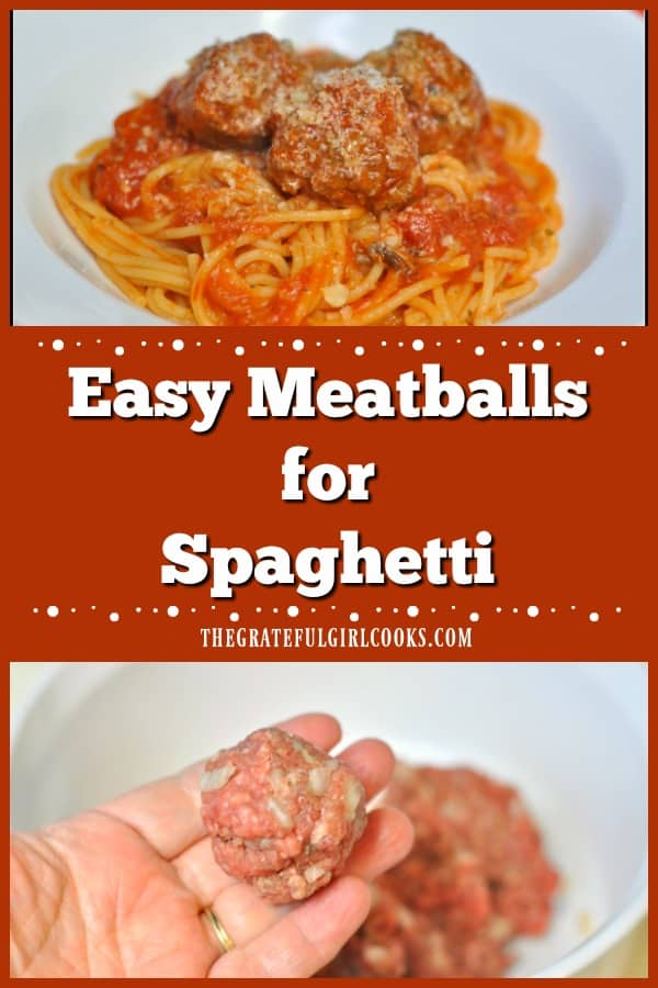 Learn how to make these yummy, quick and easy meatballs (serves 4) to go with your favorite pasta and Italian sauce, using only one pound of ground beef!