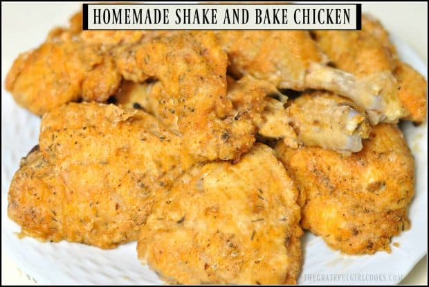 Homemade Shake and Bake Chicken is an EASY, flavorful chicken entree using a quick copycat spice mixture. Chicken pieces are coated with spices, then baked!