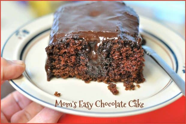 Mom's EASY Chocolate Cake, with chocolate frosting, is a delicious dessert for the whole family, and can be made from scratch in practically no time at all!