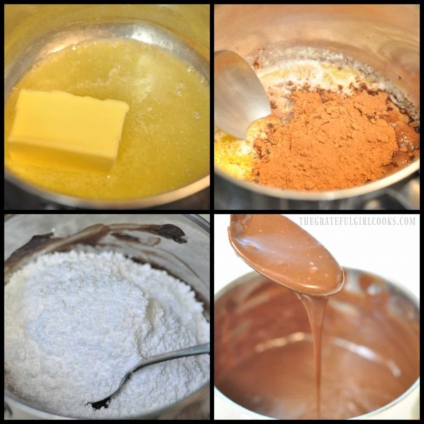 4 photos showing chocolate frosting for cake being made