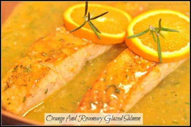 Orange And Rosemary Glazed Salmon / The Grateful Girl Cooks! This EASY recipe (inspired by Cooking Light) features pan-seared salmon fillets, a fresh citrus glaze, and is ready in about 20 minutes!