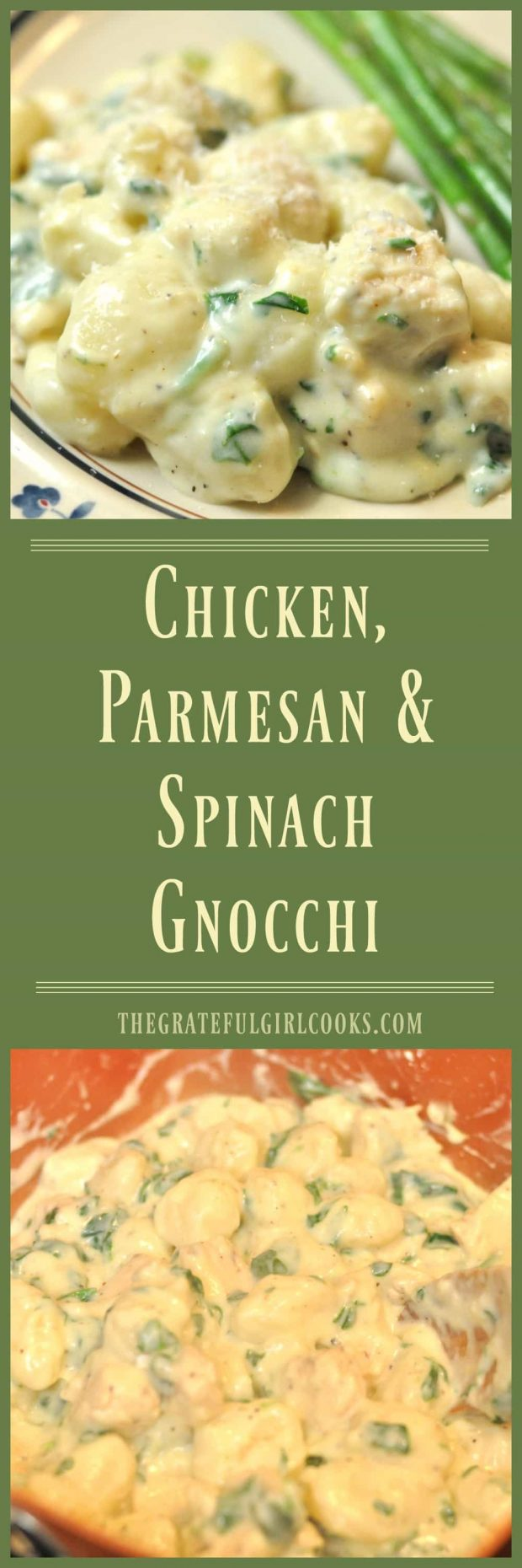 Chicken, Parmesan & Spinach Gnocchi / The Grateful Girl Cooks! Enjoy this simple yet delicious meal in about 30 minutes from start to finish!