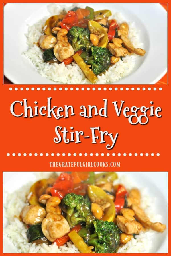 Chicken Veggie Stir Fry, with broccoli, carrots, bok choy, zucchini, onions, etc. in an Asian-inspired sauce, is served on rice.