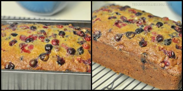 Cranberry orange loaf is baked and removed from pan.