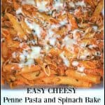 EASY CHEESY Penne Pasta And Spinach Bake