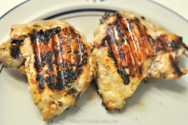 Grilled chicken thighs for salad