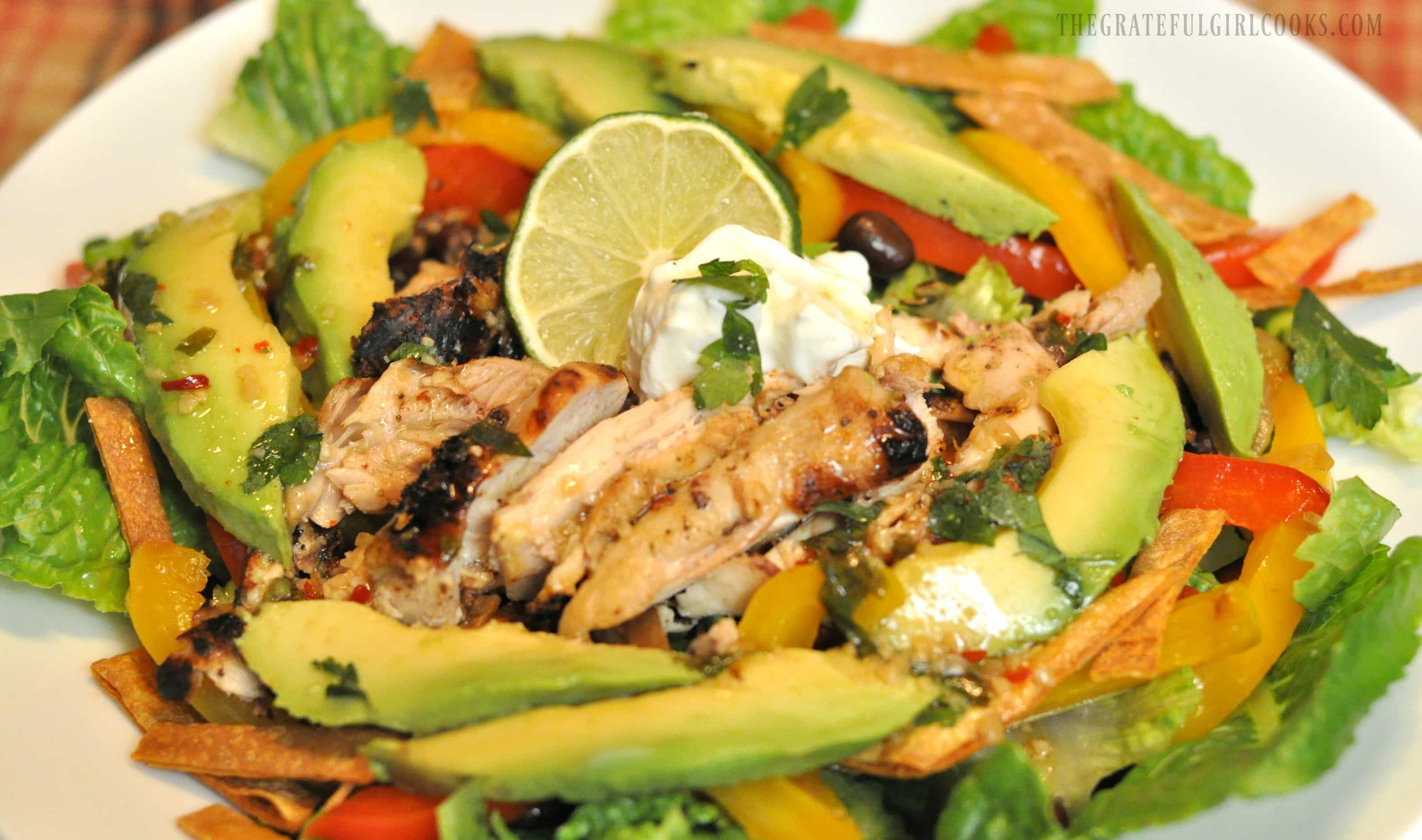 Grilled Chili & Lime Chicken Fajita Salad / The Grateful Girl Cooks!