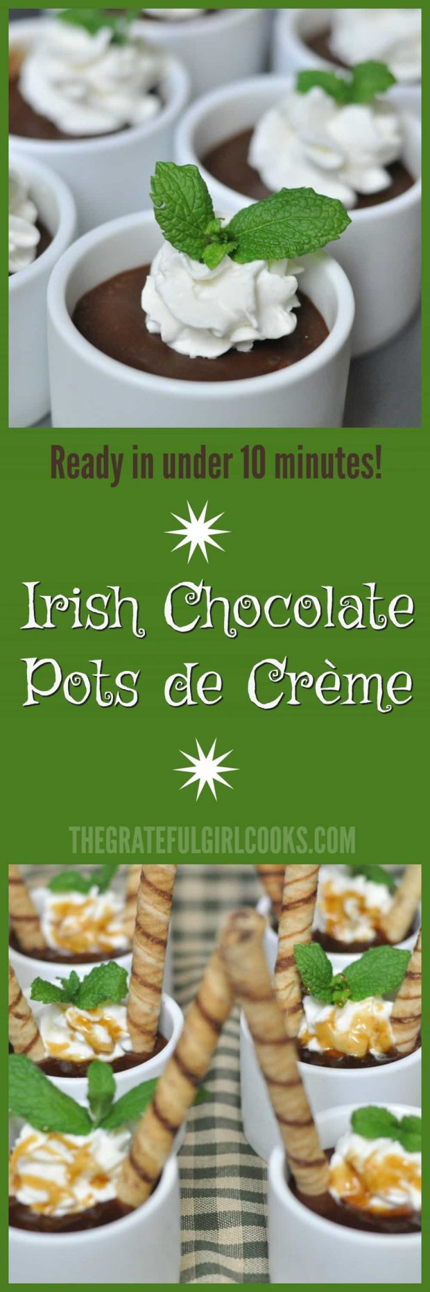 Irish Chocolate Pots de Crème / The Grateful Girl Cooks!