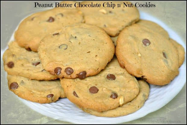 Soft peanut butter chocolate chip cookies filled with milk chocolate chips and chopped peanuts make these simple old-fashioned cookies a real treat!
