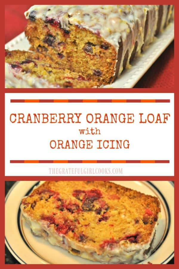 Cranberry Orange Loaf with Orange Icing is a deliciously flavored sweet bread, topped with a creamy citrus icing! Enjoy a taste of the holidays with a slice!