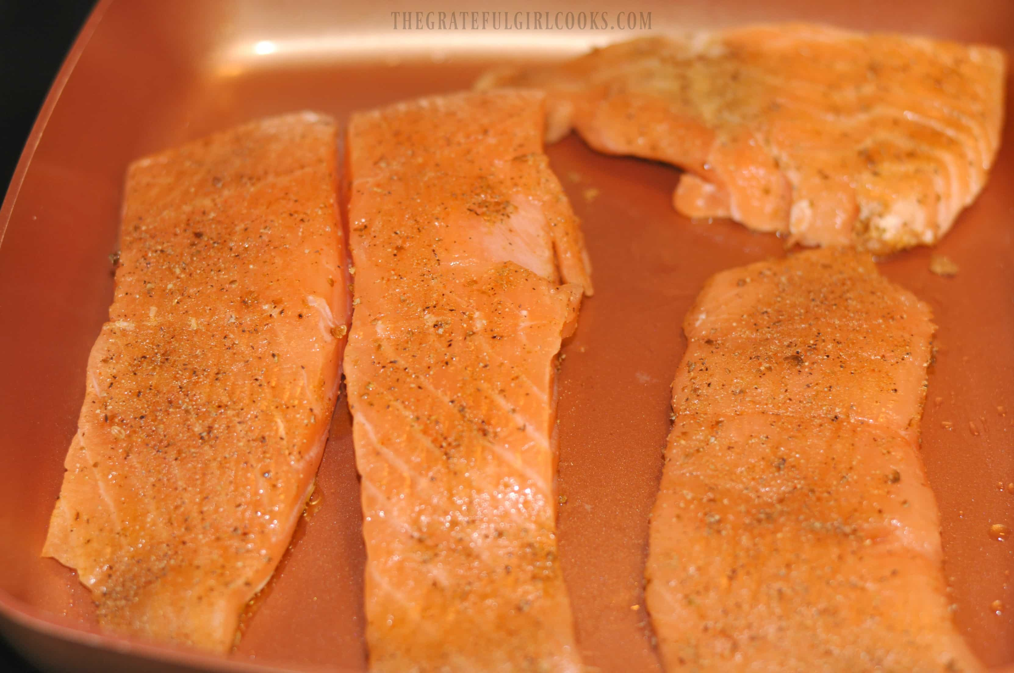 Pan-Seared Salmon with Cilantro Lime Sauce / The Grateful Girl Cooks!