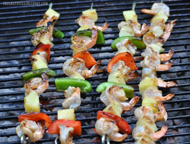 Pineapple Coconut Shrimp Kabobs  grilling on BBQ