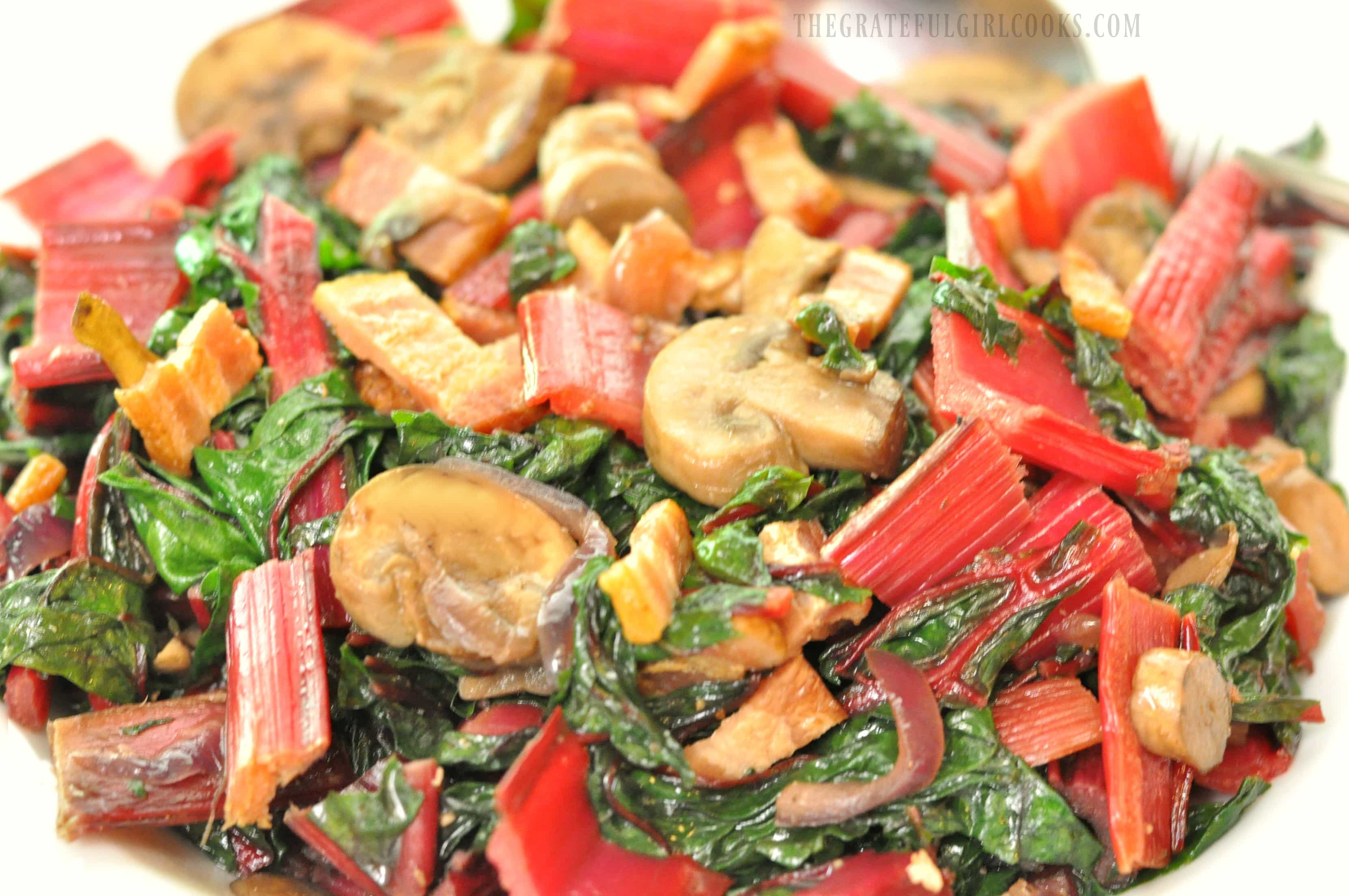 Swiss Chard with Bacon and Mushroms / The Grateful Girl Cooks!