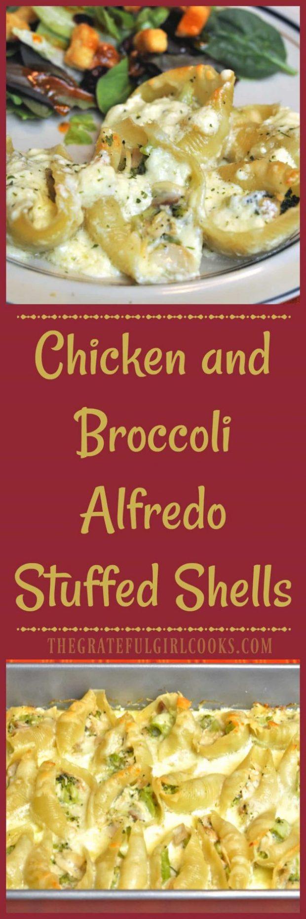 Chicken and Broccoli Alfredo Stuffed Shells / The Grateful Girl Cooks!