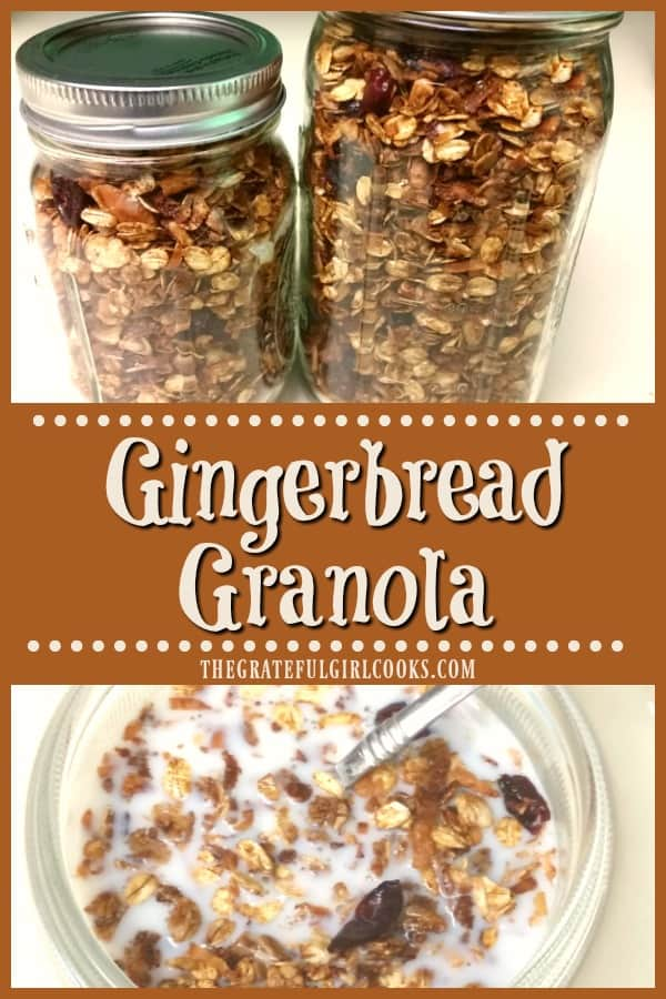 Make gingerbread granola from scratch in 30 minutes! With cinnamon, ginger, cloves and molasses, you'll love this as cereal, or a yogurt /ice cream topping!